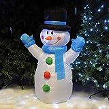 Kingfisher 1,22 cm Langer, mit Luft gefüllter LED-Schneemann für Weihnachten, aufblasbare und beleuchtete Gartenrasen-Deko