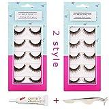 Best False Eyelashes - MINTHE 10 pairs 2 styles wispy 3d false Review