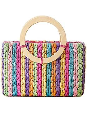 Tonwhar ® Rainbow Stripes, Farbe: Husk FotoTapete Summer Beach Bag Handtasche Stroh