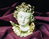 Figura Santa Italienische Putte. Puttenkopf aus Bergahorn. Holzgeschnitzt und farbig gefasst. Größe circa 6 cm.