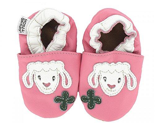 HOBEA-Germany Krabbelschuhe in verschiedenen Farben und Design für Mädchen, Schuhgröße:18/19 (6-12 Monate);Modell Schuhe:Lamm Wölckchen (Lamm Boden)