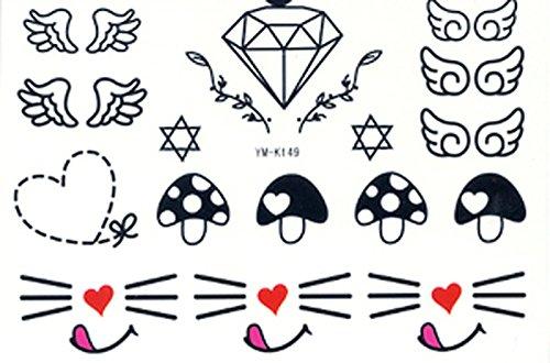 Nicht giftig und wasserdichte heißer Verkauf temporäre Tattoos Karo, Herz, Pilz, schönen Katzen, Engel Flügel, Sterne