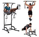 HOMCOM Power Tower Multi-Function Height Adjustable Abs Dip Station, Home Gym Strength Training