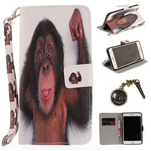 PU für Apple iPhone 6 Plus (5.5 Zoll) Hülle Case Tiere Landschaft Hülle für-Apple iPhone 6 Plus (5.5 Zoll) Leder Handyhülle Brieftasche Book Type PU Leder +TPU Innere Tasche Bunt Gemalt Magnetverschlu 5