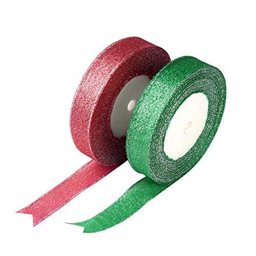 FEPITO 2 Rollen 20mm Weihnachten Organza Band Glitterband Geschenkband Grün und Rot Schleifenband Dekoband Bänder für Weihnachtsdekoration (Grün & Rot)