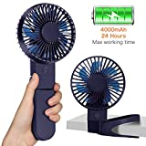 4000mAh Rechargeable Battery Operated Clip on USB Desk Fan, Mini Portable Personal Fan for Baby Stroller, Car, Gym, Office, Outdoor, Travel, Camping