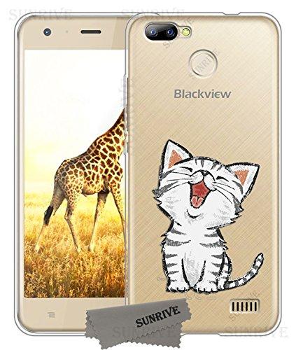 Sunrive Für Blackview A7 PRO Hülle Silikon, Transparent Handyhülle Schutzhülle Etui Case Backcover für Blackview A7 PRO(TPU Katze 2)+Gratis Universal Eingabestift