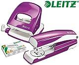 Leitz 5008 NeXXt Series WOW Bürolocher, Metall, bis zu 30 Blatt / Kombi-Set mit Heftgerät + 1000 Klammern extra (Violett Metallic)