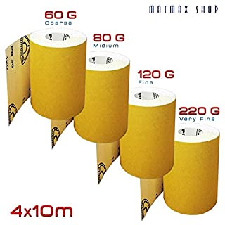 60G (Coarse) + 80G (Medium) + 120G (Fine) + 220G (Very Fine) Aluminium Oxide Sandpaper Rolls Set - 4x10m (Klingspor PS30D - GERMANY) on Amazon !!!