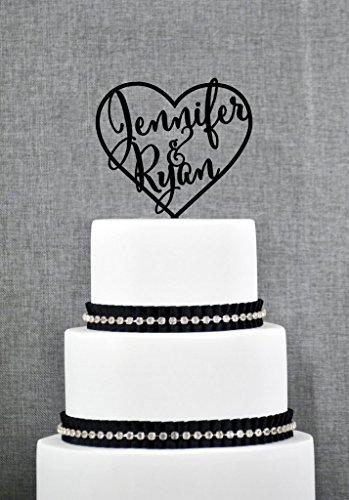 Hochzeits-Kuchen-Deckel mit den ersten Namen innerhalb des Herzens, personifizierte Kuchen-Deckel, elegante kundenspezifische Hochzeits-Kuchen-Deckel. Ein ideales Geschenk (Herz-hochzeits-kuchen-deckel)