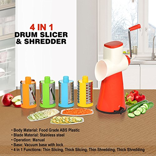 Kitchen Bazaar 4 In 1 Drum Grater Shredder Slicer For Vegetable, Fruits, Chocolate, Dry Fruits, Salad Maker With 4 Different Attractive Drums