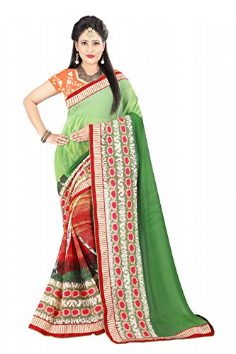 Dsp Creation Multi-Coding Saree With Blouse Material color: Green