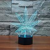 3D Lampe USB Power 7 Farben Erstaunliche Optische Täuschung 3D Wachsen LED Lampe Blatt Formen Kinder Schlafzimmer Nachtlicht