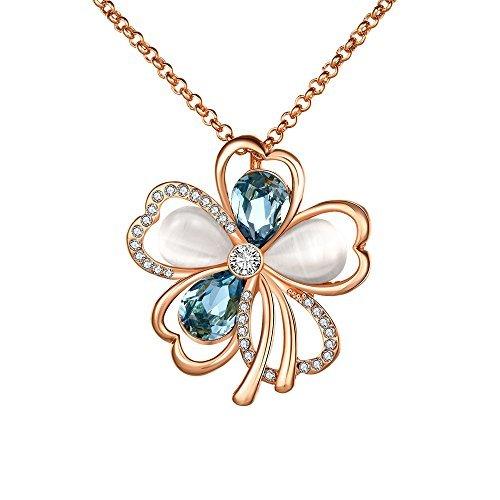 Collana con ciondolo a forma di fiore, con cristalli opale di swarovski elements, base placcata oro rosa, colore: rose gold, cod. dwn0050
