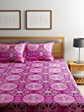 #8: Bombay Dyeing Elements 120 TC Polycotton Double Bedsheet with 2 Pillow Covers - Pink