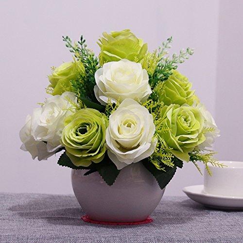 Xin Pang Simulierte künstliche Blume Set Home Zubehör Wohnzimmer Deko Rose Blume Fake Blumentisch Silk Blume, große Kugel Kugel Braut Rose/grün + weiß