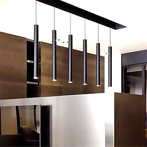 CAC Se enciende una lámpara colgante isla de cocina, comedor sala de estar tienda de decoración, tubo del cilindro Colgante Cocina Luces Luz,80×6cm blanco frío