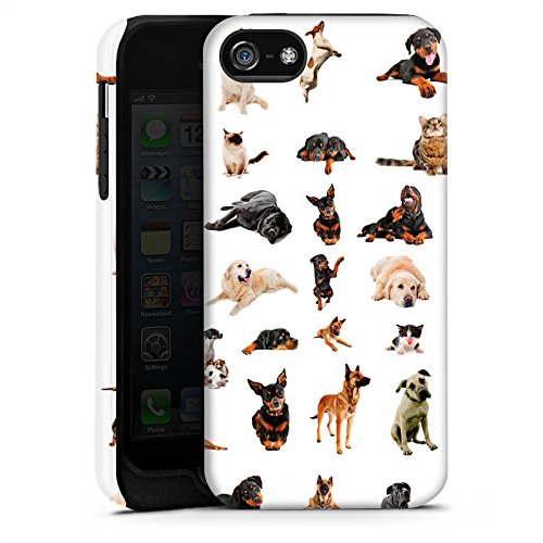 Apple iPhone 5s Housse Étui Protection Coque Chat Chien Golden Retriever Cas Tough terne
