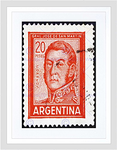 Preisvergleich Produktbild POSTAGE STAMP ARGENTINA VINTAGE JOSE DE SAN MARTIN GENERAL FRAMED PRINT B12X8687