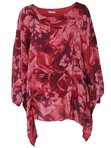 Gracious Girl Femmes Coton Italien Défraîchis Ou Multi Floral Batwing Mesdames Tunique Tailles Plus 09. corail Floral délavé