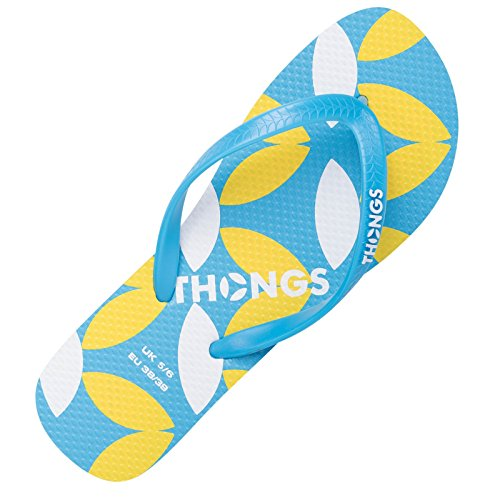 String pour Femme NEW Tongs – Sandales - Aqua Blue Print Design