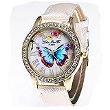 KanLin1986 reloj de pulsera de mujer mariposa patrón con Candy correa de color (blanco)