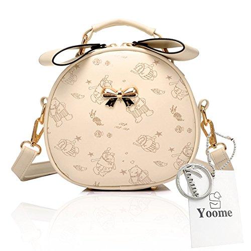 Yoome Niedlich Printing Alley Style Bowknot Top Griff Handtaschen Kleine Satchel Handtaschen Für Frauen - Braun Sahne