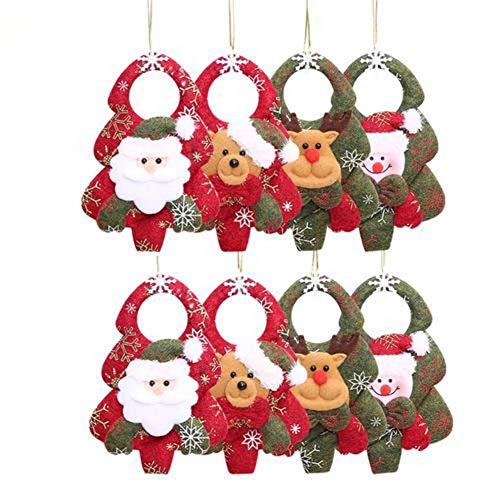 Poetryer 8pcs albero di natale decorazione di natale finestra ornamenti ornamenti in tessuto non tessuto albero di natale ciondoli scene decorazioni per albero di natale e porta decorazione