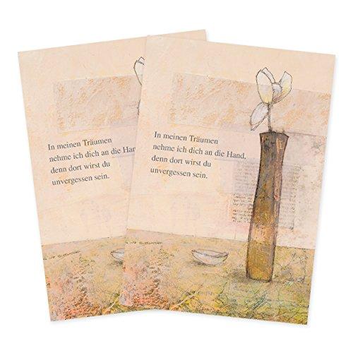 2er Set Trauerkarten mit Pergametpapier Motiv In meinen Träumen -
