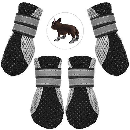 Petacc Botas de perro Breathable Zapatos al aire libre para perros Anti-slip Pet Paw Protector with Rayas reflectantes, Black, XL (XL)