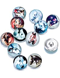 Soleebee 12pcs Aluminum Glass Snap Buttons Jewelry Charms - Horse by Soleebee