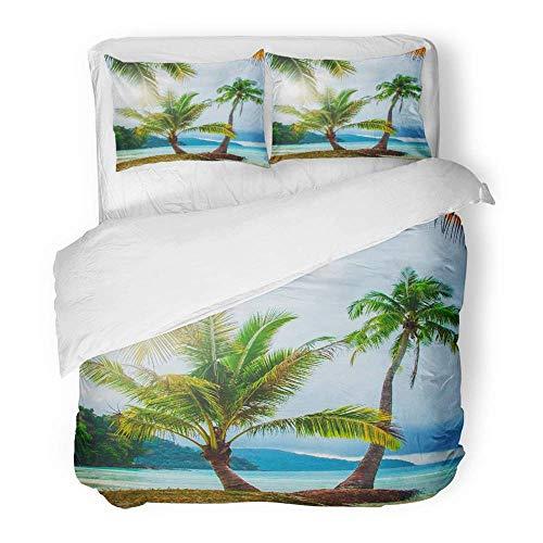 Green Island Resort (3-teiliges Bettbezug-Set Gebürsteter Mikrofaser-Stoff Blue Island Wunderschöne Strandszene Green Landscape Resort Atlantic Bay Ruhig atmungsaktives Bettwäscheset mit 2 Kissenbezügen, King Size)