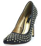 BLINK Damen Stiletto-Pumps, High Heels, Nietenbesatz, Decksohle Leder, schwarz-gold, Größe:40
