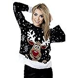 Frauen Pullover Langarm Stern Twin Rudolph Neuheit Weihnachts size 34-42 (ML/EU 38/42, Schwarz)