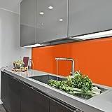KeraBad Küchenrückwand Küchenspiegel Wandverkleidung Fliesenverkleidung Fliesenspiegel aus Aluverbund Küche Orange glanz/matt 60x100cm