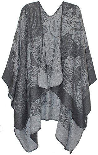 dy_mode Schicker Damen Cape Poncho Mantel Wendeponcho Umhang im eleganten Paisley Muster - in 2 Farben PJ007-008 (PJ008) -