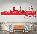 Skyline München (120 cm Breite, rot), Wandtattoo, Wandaufkleber, Wohnzimmer, Dekoration, Wanddekoration + GRATIS-Zugabe!!!