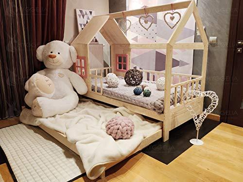 Hyggelia Kinderbett mit Schranken und zweites Bett, Ricco Holzbett für Kinder, für Jugendliche, Schlafzimmermöbelhütte, Landhausbett 2in1 (80 x 160cm, Gemalt (Farbe wählen))