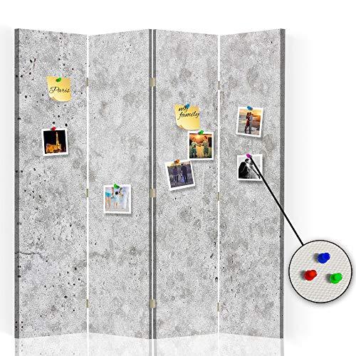 Feeby Separador Foto Corcho Abstracción 4 Paneles Unilateral Mármol Piedra Gris 145x175 cm