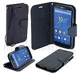 Housse etui coque pochette portefeuille pour Sony Xperia Z5 Premium Dual + film ecran - NOIR / NOIR