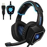[Neuer USB Computer Kopfhörer mit Mikrofon] Spirit Wolf Over Ear 7.1 Surround Sound PC Gaming Headset mit Noise Cancelling / Atmungslicht in Schwarz Blau
