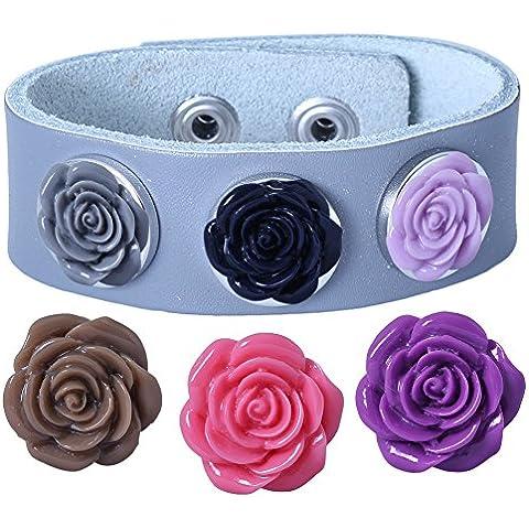 Soleebee PU pulseras grises de experiencia 6 Rose aleatoria diamantes de imitación Snap mezclaron los botones Blanco