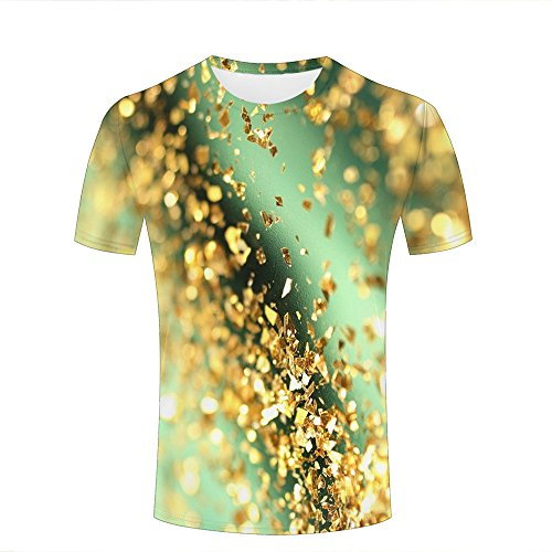 Mens Casual Design 3D Printed Glitter Abstract Bokeh Gold Graphic Short  Sleeve Couple T- 7780d2baf69c