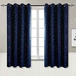 BGmet Navy Star Blackout Curtains for Kid's Bedroom - Eyelet Thermal Insulated Room Darkening Printed Curtains for Living Room, 2 Panels (W46 X L54 Inch, Dark Blue)