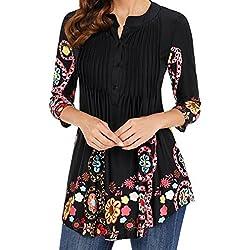 FAMILIZO Camisas Mujer Largas Camisetas Mujer Verano Tops Mujer Primavera Camisetas Mujer Largas Camisetas Mujer Manga Larga Algodon Tallas Grandes Mujer Fiesta Blusas Mujer Fiesta (L, Negro)
