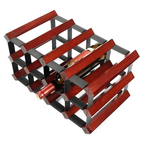JIA JIA HOME- Étagères à vin en bois debout et en métal en acier naturel armoire en bois sur table armoire à vin rangement décoration étagère à vin organisateur de bouteilles de vin design rétro, peut contenir 12 bouteilles - rouge foncé, L41.5 X W23.5 X H23.5 cm