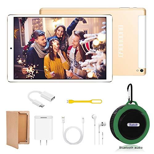 Tablet 10 Pulgadas 4G Android 9.0 + Subwoofer Altavoz Bluetooth(Deportivo),  Tablets PC 4GB RAM+64GB ROM (Tres Ranuras: 1xMicroSD + 2xSIM) 7500mAh Batería 5MP + 8MP Cámara Tableta (Oro)