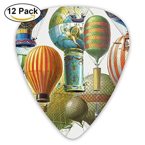 Cool Pink Hot-air Balloon Sky Celluloid Guitar Accessories/parts Bass Guitar Picks 0.46mm 0.71mm 0.96mm Unisex 12 Packs