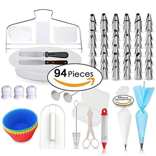 StyleA 94-Teiliges Spritztüllen Set Profi Tortenzubehör mit 48 Nummerierte Spritztüllen, Tortenplatte drehbar, Einwegspritzbeutel, Deko-Spritze, Tortenmesser & Spatel usw. für Torten, Kuchen