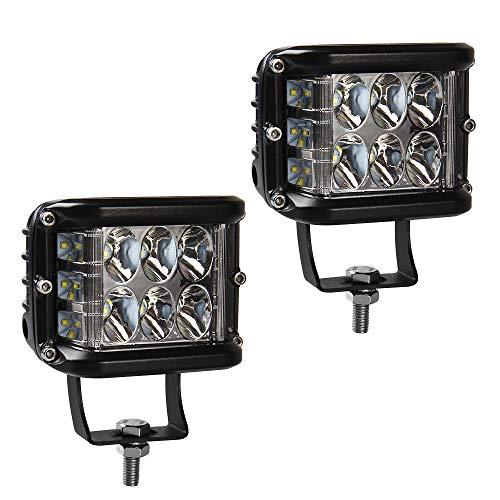 12000LM Faro da Lavoro LED Auto, 60W CREE LED Luci Barra Spot Beam, Doppio Lato LED Pods Off Road Driving Fendinebbia, 6000K Bianco, Confezione da 2